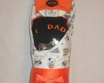 Neutral-My Daddy Rides A Harley Diaper Baby-UNIQUE Baby Gift