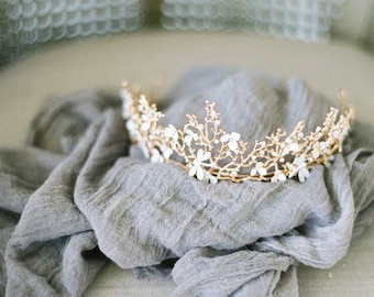 Bohemian Crown Bridal Headpiece, Bridal Headband, Warm Gold Wedding Head Piece, Boho headpiece, Princess Bridal Crown, Boho Tiara, SALE