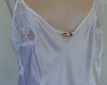 Vintage Nightgown Negligee White Satin Bridal Wedding Large