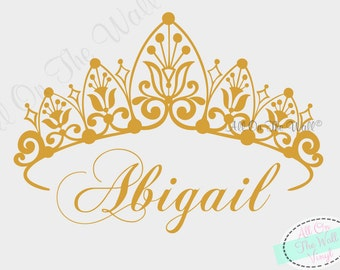 Crown Wall Decal Princess Decals Nursery Name Wall Decal Vinyl Lettering Wall Sticker Children Kids Personalized Wall Art Girl Bedroom Decor