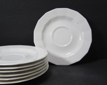 """White Ironstone Saucers Set of 7,  6.5"""" Diameter Made in U.S.A. Vintage Wedding Plates"""