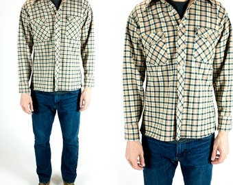 Vintage 1970s Green Yellow Red and White Plaid Thick Button Down Shirt Size L Large XL Extra Large