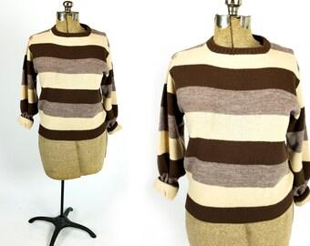 Vintage 1970s Brown Tan Taupe Beige Striped Crewneck Pullover Boyfriend Sweater Size S Small M Medium L Large