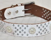 """White Leather Dog Collar, Western Dog Collar, Over 100 Handset Crystal Rivets, Custom Leather Dog Collar, Fits size 20-22.5"""""""