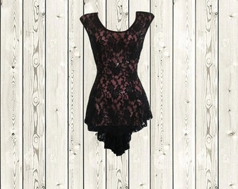 high low sheer lace dress see through lingerie night gown nightie size extra small xs xxs 2xs 0 2 4