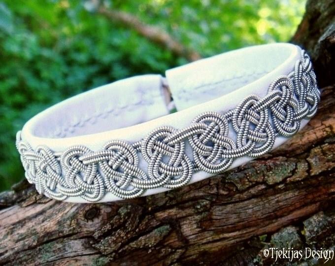 White Sami Bracelet. Lapland Swedish VIKING Reindeer Bracelet Custom Handcrafted in silksoft Reindeer Leather and Celtic Knotted Pewter