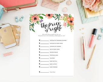 Instant Download - Boho The Price is Right Baby Shower Cards