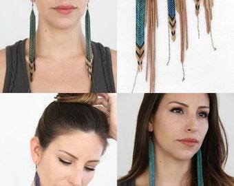 Long Statement Earrings, Turquoise Tribal Earrings - Choose your length