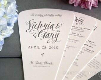 Wedding Program Fans 4 Blade Petal Programs, Satin Ribbon - Customizable Elegant Programs - Summer Wedding Custom Colors SS12 (Set of 50)
