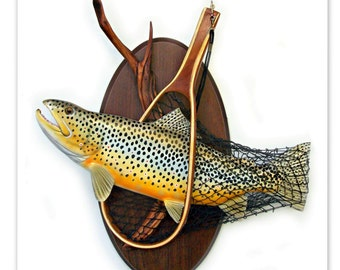 Brown trout art, sculpture, wood carving, wall art, fishing art, Trout sculpture, anglers art, fishing sculpture, trout decor, fish wall art
