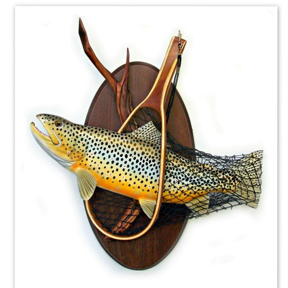 Brown trout art sculpture wood carving wall fishing