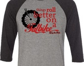 Fat Bike T-shirt-Things Roll Better on a Fat Bike-Bicycle Baseball Shirt in Heather Grey and Charcoal