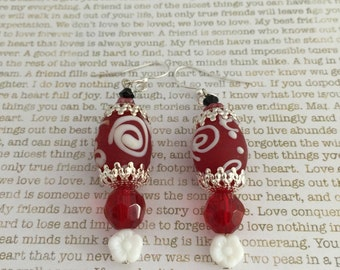 Red Spiral Earrings - OOAK Made With Red And White Spiral Lampwork Beads And Crystals Steampunk Victorian Style