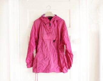Vintage Eddie Bauer Magenta/Purple Windbreaker Jacket, Womens Size XL