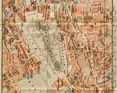 1905 Vintage City Map London West End Hyde Park, Belgravia, the Thames,  England, United Kingdom, UK