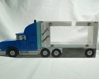 Semi truck and trailer wooden bank - personalized free