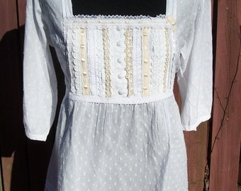 White Eyelet Lace Blouse with Vintage Lace Trim - Bohemian Coachella Steampunk Clothing-Small