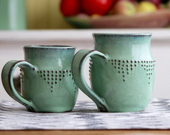 Extra Large Stoneware Mug - Geometric Dot Design - Ceramic Coffee Cup - MADE TO ORDER