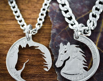 Best Friend Horse Necklaces, Equestrian Jewelry, Hand Cut Coin