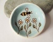 Ceramic Pottery Bowl, Ceramic Dish, Decorative, Candle Holder, Tea Light Holder, Trinket Dish, Offering Bowl - Bees and Flowers