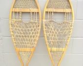 "Antique Wood Snowshoes Rustic Lodge Decor Northwoods 36"" x 12.50"" - Michigan Maine Beavertail Algonquin"