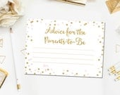 Pink and Gold Advice for the Parents to be Baby Shower Advice for the Parents, Printable Baby Shower Wishes Instant Download BB1