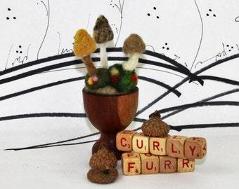 Needle felted miniature mushrooms, mini felt mushroom pincushion, natural felted decor, fall decor button top mushroom, tiny mushroom scene