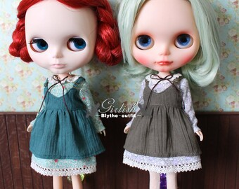 Girlish - Mori Style Dress Set for Blythe doll - dress / outfit