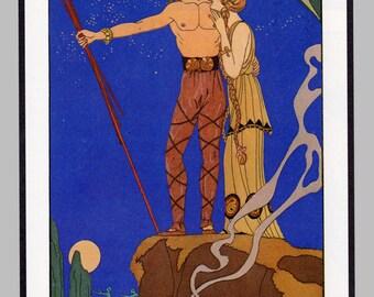 Viking Warrior Returns Romantic Art Deco Style, Midnight Blue Color, Guest Bedroom Makeover, Art Deco Print Powder Room Print, Viking Hero