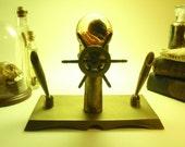 Wet Specimen Octopus In Mini Spere Atop Brass Mid Century Nautical Pen Holder