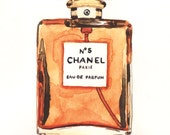 Chanel No. 5 Perfume Bottle - Giclee Print of Watercolor - Coco Chanel Paris Classic Fragrance Marilyn Monroe Crystal Bottle Gift for Her