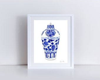 Blue and White China Print Ginger Jar Art 1 Chinoiserie Art Print Asian Decor Asian Art Print Chinese Art Print Chinese Painting Wall Art