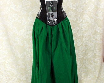 "Renaissance Wench Basic Skirt -- Kelly Green Cotton -- Fits up to 40"" Waist, 39"" Length -- Ready to Ship"