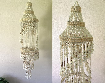 Large Vintage Hanging Seashell Mobile Chandelier Display