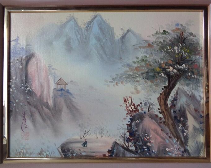 Large Framed Original Art Painting of Asian Chinese Mountainous Landscape - Retro Mauve Frame - The Art Affaire Artwork