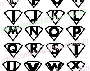 Monograms SVG - Super Hero Monograms - Kid Monograms SVG - Digital Cutting File - Instant Download - Graphic Design - Svg, Dxf, Jpg