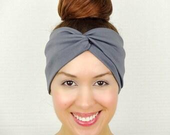 Twist Headband Women's Accessories Grey Turban Headband Grey Turban Head Wrap Women Turban Wide Headband Grey Headband Grey Yoga Headband