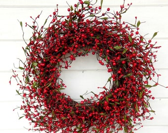 Winter Wreath-Valentine Wreath-Holiday Wreath-Summer Wreaths-RED Berry Wreath-Rustic Christmas Wreath-Holiday Home Decor-Scent Wreaths