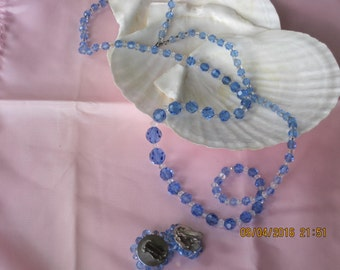 "Vintage Blue Crystal 36""  Necklace, Clip Earrings, Christmas Gift"