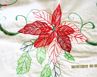 Vintage Formal Christmas Tablecloth Pointsettias and Berries