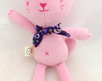small pink cat stuffed animal- soft, washable