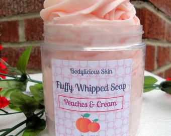 Whipped Soap, Fluffy Soap, Cream Soap, Foaming Bath Whip 8 oz Vegan Friendly, Peaches and Cream