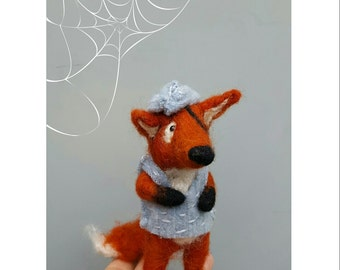 Pirate fox, needle felted, one of a kind, woodland animal, whimsical sculpture, boys room decor, pirate decoration, felt figurine, handmade