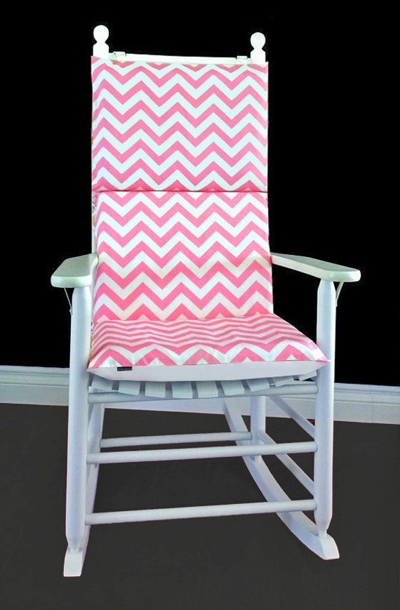 Rocking Chair Cushion Cover - Baby Pink Chevron, Ready to Ship