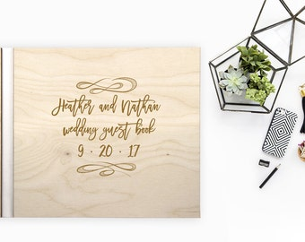 Wedding Brush Stroke WOOD Guest Book