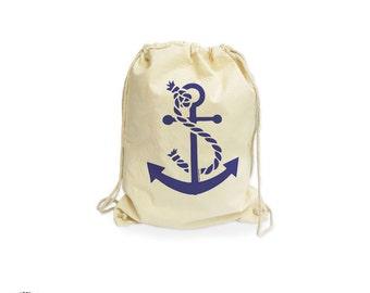 Anchor beach organic gymsack-anchor bag-beach bag-wedding favors bags-anchor gymsack-drawstring backpack-gym sack-summer-NATURA PICTA NGS005