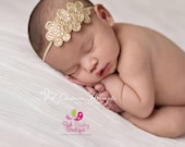 Rhinestone Headband - Gold Infant Headband - Baby Girl Headbands- Newborn Headband -Hair Accessories-- Gold Hair Bows - Flower Girl Headband