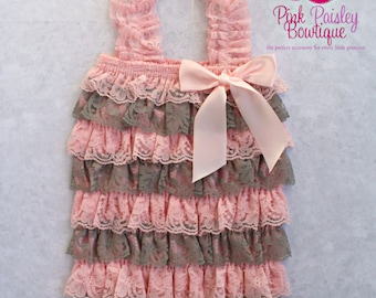 SALE Baby Romper,Petti Romper, Birthday Romper, Lace Romper,Ruffle Romper,Petti Lace Romper,Baby Girl Outfit, 1st Birthday Outfit. 2 PC Set