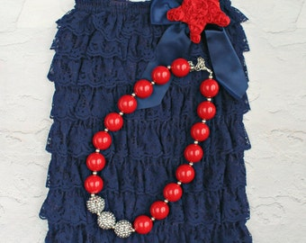 July 4th Baby Romper - Patriotic Outfit - Baby Rompers - Navy Blue Petti Romper - Nautical Birthday Outfit - July 4th Baby Outfit - Rompers