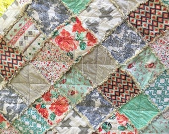 Full Size Rag Quilt - ReCollection Katarina Roccella - Coral - Mint - Gray - Modern Handmade Bedding